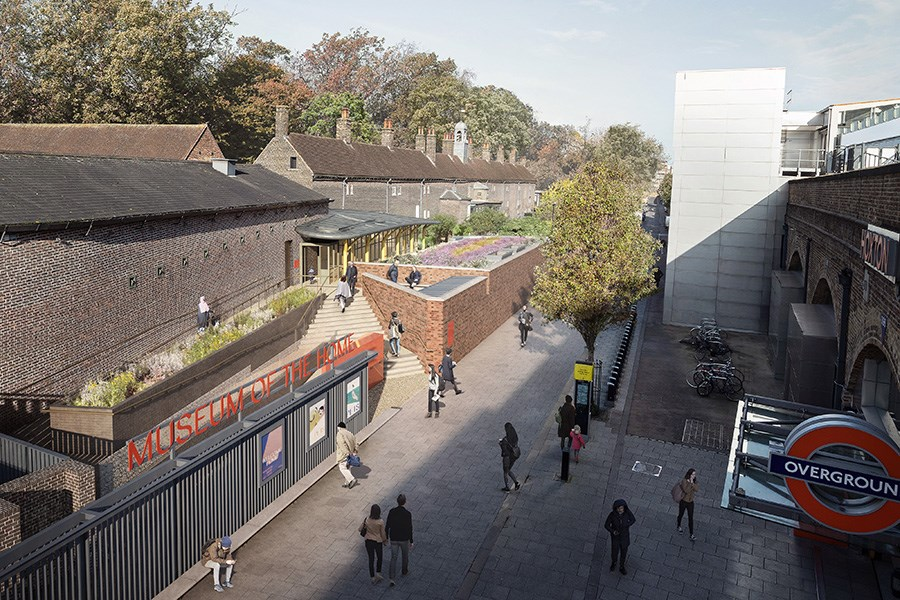 Illustration of the new entrance opposite Hoxton Overground Station. Visual by Secchi Smith, design by Wright & Wright Architects