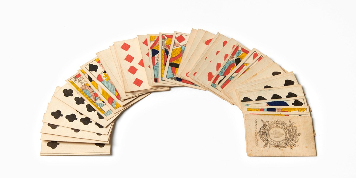 A set of fake Gibson and Gisbourne playing cards, probably printed in Belgium 1810-1820. Object number 18/2020