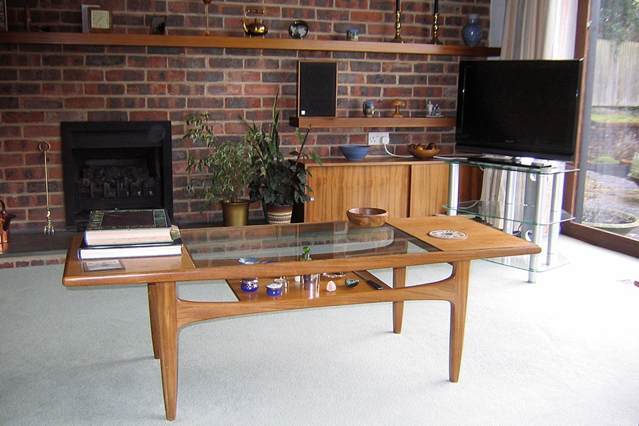 Ron B's living room in Winchester, featuring a G-Plan coffee table purchased in about 1975. Object number 87/2009-21