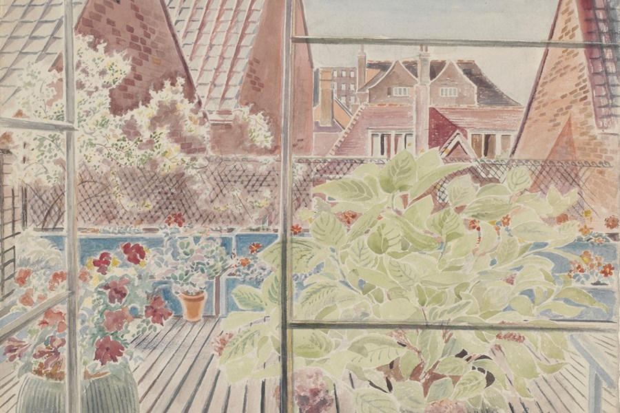 'Roof Gardens, Kensington', watercolour on paper, signed by Guy Malet, painted in about 1940.