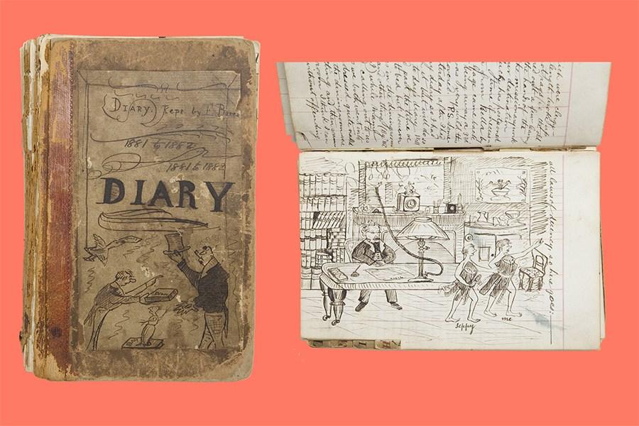 Diary of Ernest Baker, age 14, son of the chaplain of the Geffrye Almshouses. Handwritten with line illustrations in ink.