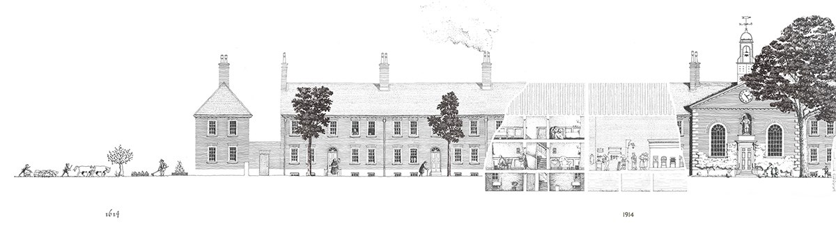 Detail from drawing illustrating the history of the building by Wright & Wright Architects displayed in the RA Summer Exhibition 2019